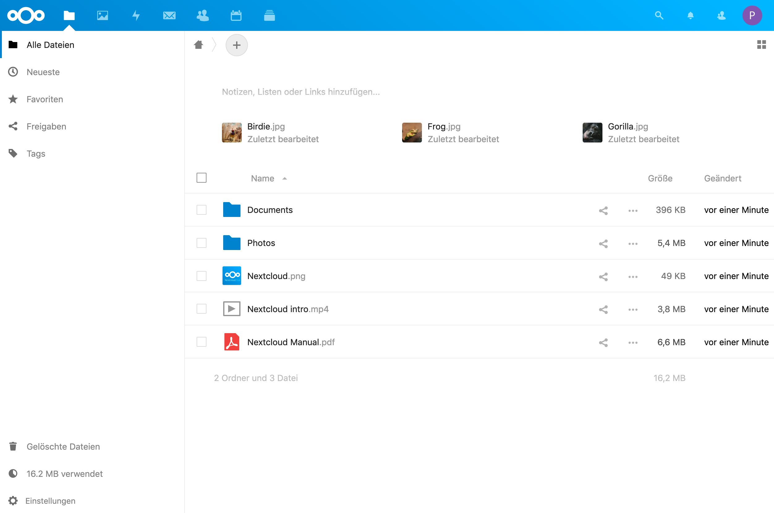 Nextcloud Hosting screenshot