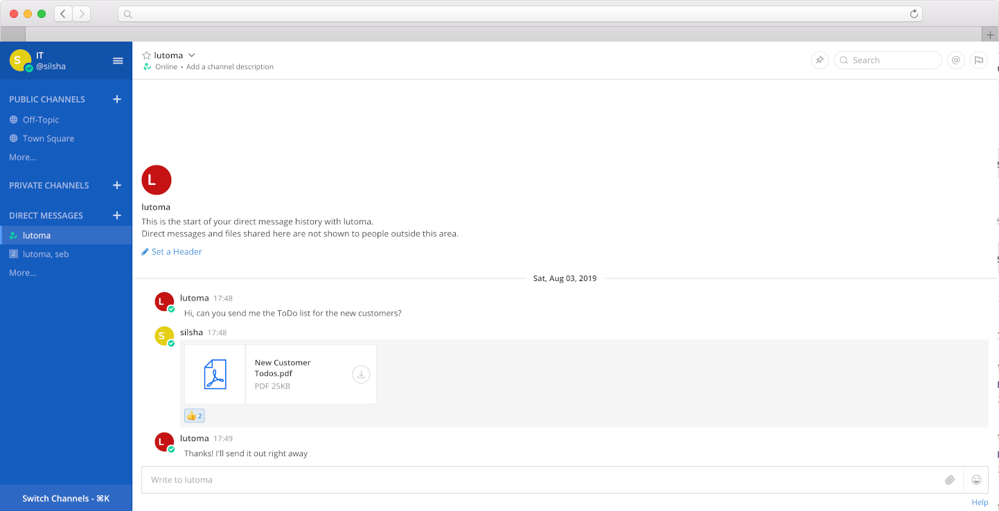 Mattermost Hosting screenshot